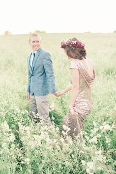Gorgeous--must find a wild field for rustic engagement photos!   Photograph by Elizabeth Fogarty Photography