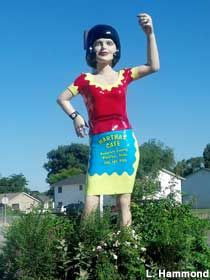 The giant waitress at Martha's Cafe. This gal has been a Blackfoot resident for decades.