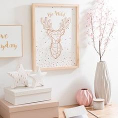 Picture deer trophy made of wood 33 x 44 cm BE WILD - Decoration Trends My New Room, My Room, Girl Room, Gold Rooms, Gold Bedroom, Marble Bedroom, Pastel Bedroom, Diy Room Decor, Bedroom Decor