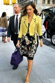 Printed dress and yellow crop leather coat- Jessica Alba