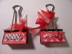 "This is two big binder clips that I altered and turned into note holders. One says ""Love Notes"" the other one says ""I heart U"" - I keep one of these in my kitchen window to hold my recipe cards when I Trombone, Mini Scrapbook Albums, Scrapbook Paper, Scrapbooking Ideas, Valentine Day Love, Valentines, Valentine Ideas, Binder Decoration, Happy Planner Kit"