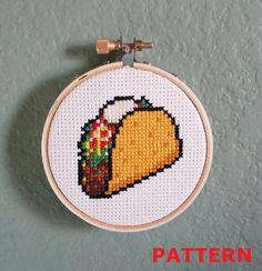 Nomnom! Taco cross stitch pattern. Small pattern perfect for cat toys, cards, or just a delicious reminder of your favorite food.