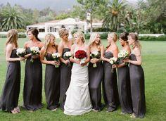Amsale gray long bridesmaid dresses. Style Me Pretty | Gallery