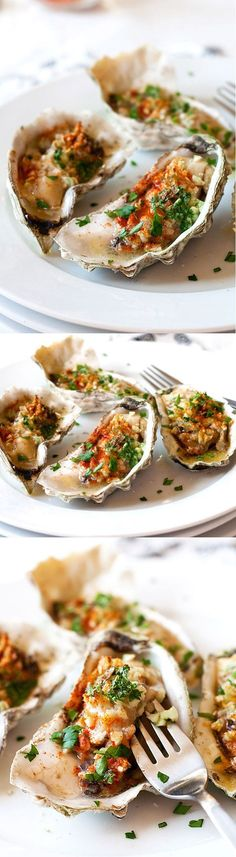 Grilled oysters (baked oysters) – oyster on the half shell with garlic, butter, parsley and paprika. Juicy, briny and crazy delicious. #food #summer Foods Grilling Recipes #recipe