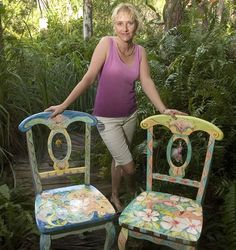 Painted Furniture: Sissi Janku with painted chairs.