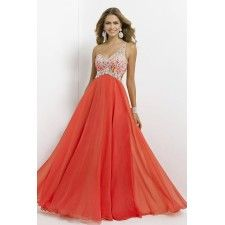 A-Line Asymmetic Beading Chiffon Long Peach Prom Dress