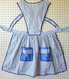 VINTAGE BLUE APRON Polka Dots Cotton