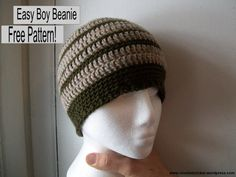 Free Pattern: Easy Boy Beanie Hello and Good morning! I will be sharing my new free beanie pattern perfect for the boys: Easy Boy Beanie Yarn – Patons Classic Wool Worsted Weight Color A -Natural Mix Color B – Dark Olive *note*… Crochet Hats For Boys, Crochet Men, Cute Crochet, Crochet Crafts, Easy Crochet, Crochet Baby, Crochet Projects, Crocheted Hats, Bonnet Crochet