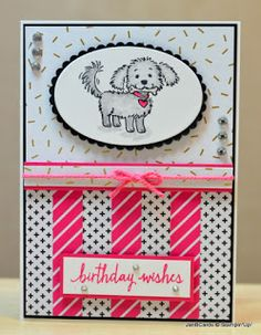 I used the Stampin' Up! Bella & Friends Stamp Set and the Build a Birthday Stamp Set for this card. The DSP is from Pop of Pink Specialty Designer Series Paper. www.janbcards.com