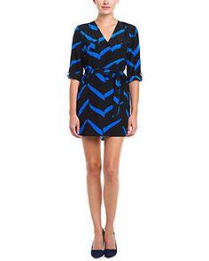 YUMI KIM Glam Black & Blue Geo Print Silk Surplice Dress