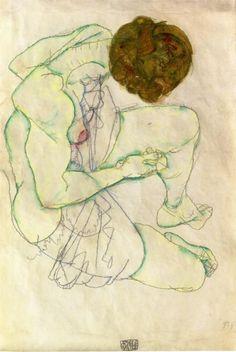 Sitting Woman - Egon Schiele, 1914
