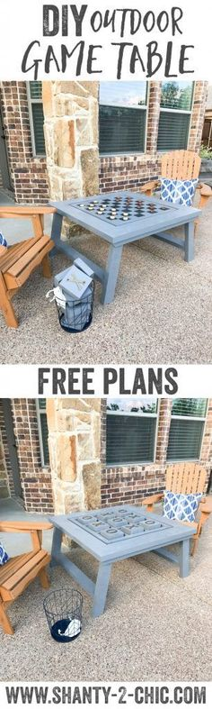 DIY Outdoor Game Table - tic-tac-toe and checkers also doubles as a coffee table Outdoor Games, Backyard Games, Diy Yard Games, Outdoor Activities, Furniture Projects, Home Projects, Diy Furniture, Furniture Plans, System Furniture