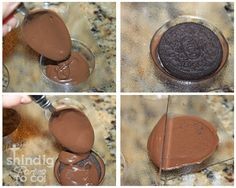 Chocolate covered Oreo tutorial using molds and transfer sheets Yummy Treats, Delicious Desserts, Sweet Treats, Dessert Recipes, Oreo Cookies, Cupcake Cookies, Sugar Cookies, Chocolate Covered Treats, Chocolate Dipped