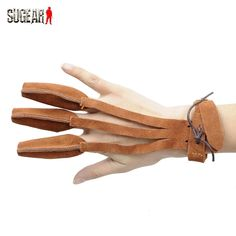 Hot Sale Shooting Archery Sports Leather 3 Finger Guard Wrist Connecting Safe Glove Hunting Arrow&Bow Finger Tip Protector Brown