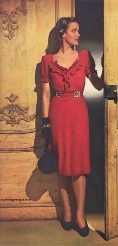 1940 Vintage Seconde Guerre mondiale ère organdi brodé Œillet robe de mariée 1329