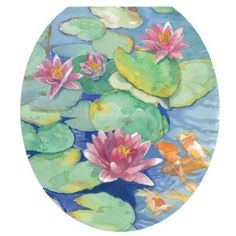Toilet Tattoos Lily Pads Design Toilet Seat Applique, Round $8.74 http://www.amazon.com/gp/product/B004SP9I9C/ref=as_li_ss_tl?ie=UTF8=1789=390957=B004SP9I9C=as2=authenticdown-20  #toilettattoo #toilettattoos #toilet #bathroom #restroom #lillys #flowers