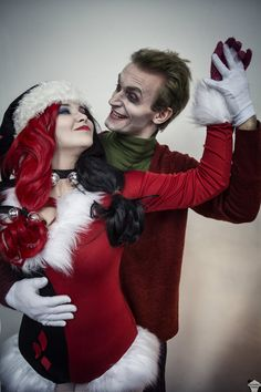 Harley Quinn and Joker (Christmas version) cosplay by The Puddins' Cosplay