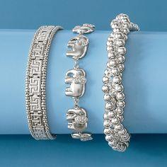 From Ross Simons Style Checklist Silver Italian Greek Key Bracelet Diamond Elephant And Twisted