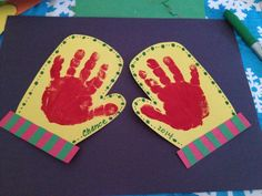 Preschool Christmas Themed Handprint Craft / Kids Handprint Glove Activity