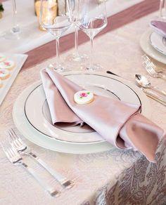 Rose Martinique Linen with Dusty Rose Plush Velvet Napkin and Runner - Creative Coverings