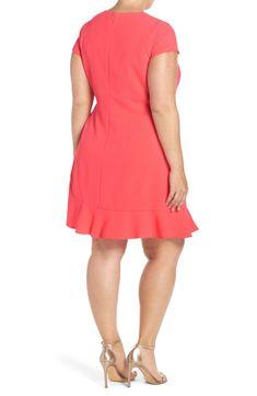 811f6b1ded6 Eliza J Ruffle Hem Crepe Shift Dress (Plus Size)