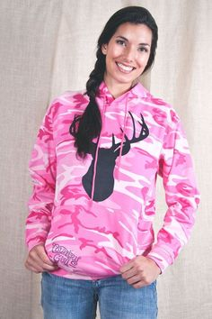 """Women's Country Girl ® Deer Head Pink Camo Hoodie 