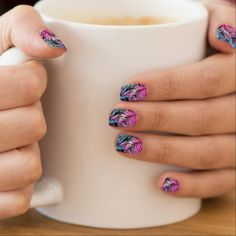 Tropical colored palms minx nail wraps - diy cyo customize gift idea