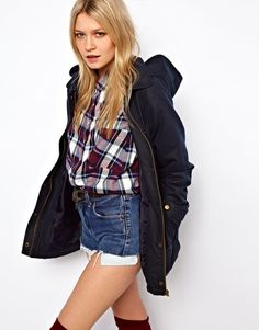Enlarge ASOS Waxed Hooded Jacket With Check Lined Hood