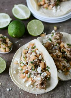 Jerk Shrimp Tacos with Spicy Melon Salsa   howsweeteats.com