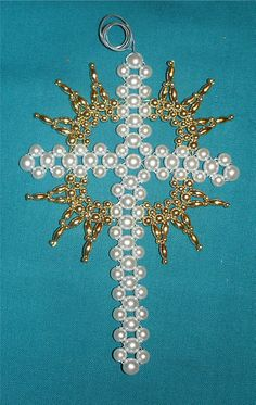 """""""Cross in Gloria"""" the next Chrismons Ornament offered in a workshop at Ascension Lutheran Church Danville, Virginia.  Pre-register for this class being held Saturday, March 29 at 9:30 am.  Materials fee is $6.  Contact the church at 434-792-5795 or email chrismon@gamewood.net."""