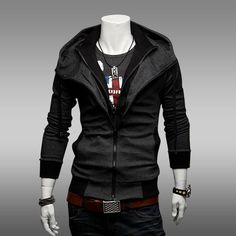 3 Colors Men Casual Cotton Hooded Cardigan