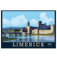 Posters of Ireland. We illustrate and print vintage and retro style travel posters of Dublin and the Irish landscape, many in the Art Deco style. Limerick Ireland, Limerick City, Poster Store, Irish Landscape, Europe, Vintage Travel Posters, British Isles, Willis Tower, Tourism