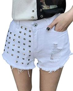 Pantaloncini di Jeans da Donna Vita Rivettati A Semplice Glamorous Alta  Pantaloncini di Jeans Corti Tasche 834f1bb047c2