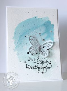 Watercolor Technique, Endless Birthday Wishes, Butterflies Thinlits, Island Indigo, Soft Sky Scrapbooking, Scrapbook Cards, Card Making Inspiration, Making Ideas, Cool Cards, Diy Cards, Sympathy Cards, Greeting Cards, Stampin Up Catalog