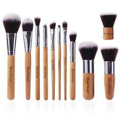 11 PC Makeup Brush Professional Bamboo Synthetic Kabuki Contour Blending
