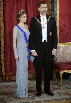 MyRoyals: Columbia State Visit to Spain, State Dinner, March 2, 2015-Queen Letizia and King Felipe