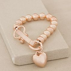 Heart and Hinged Clip 10mm Metal Ball Bracelet