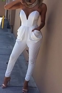 Sexy Solid Color Strapless Jumpsuit For Women