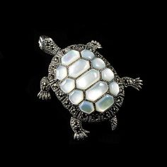 Sterling Silver & Marcasite & Mother of Pearl Turtle Pendant Brooch | Alexandra May Jewellery