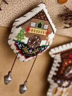 Cross stitch cuckoo clock ornament #2