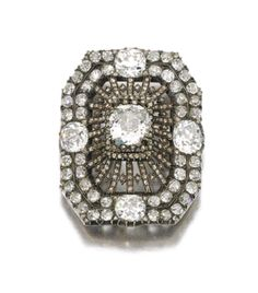 Diamond brooch, Mid Century The octagonal open work plaque set with cushion-shaped, circular-cut and rose diamonds, later brooch fitting. Jewelry Show, Gems Jewelry, Diamond Jewelry, Silver Jewelry, Fine Jewelry, Silver Earrings, Jewlery, Antique Jewelry, Vintage Jewelry