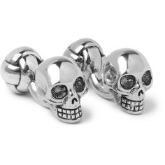 Alexander McQueen Skull Silver-Tone Swarovski Crystal Cufflinks (£120) ❤ liked on Polyvore featuring men's fashion, men's accessories and cuff links