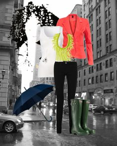 Rainy Day outfit with a Neon Pop!