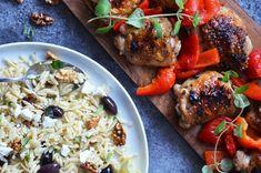 Řecké kuře Orzo, Feta, Grains, Rice, Treats, Chicken, Recipes, Sweet Like Candy, Goodies