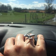 Driving along (well...I pulled over to take the pic) with my dove ring twinkling in the intermittent sunshine.