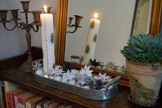 Sort, hvid og sølv kalenderlysdekoration