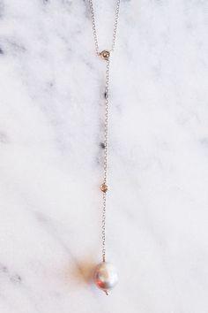 Chan Luu GREY PEARL DIAMOND DROP NECKLACE