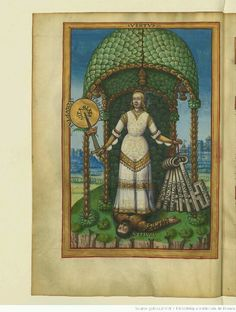 Allegorical female warrior, early 1500s French manuscript, BNF