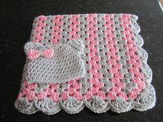 baby girl blanket set, crochet granny stripe, crochet blanket, kitty hat, crocheted blanket, girl gift set, pink and gray READY TO SHIP