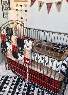 Check Yes or Doe Red and Black Buffalo Check, Arrows, Stag, and Axis Hide Crib Bedding Woodland Baby Bedding, Baby Boy Crib Bedding, Baby Boy Cribs, Baby Boy Nurseries, Minky Baby Blanket, Baby Boy Blankets, Black Crib, Crib Sets, Bedding Sets